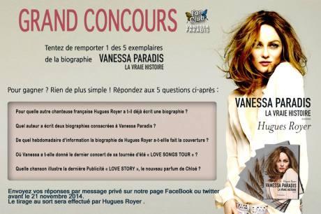 Le Fan Club Vanessa Paradis organise un concours qui permettra aux plus chanceux d'entre vous de gagner un des cinq livres offerts par les éditions Flammarion... Vous pouvez tenter votre chance en suivant les instructions ci-dessus...